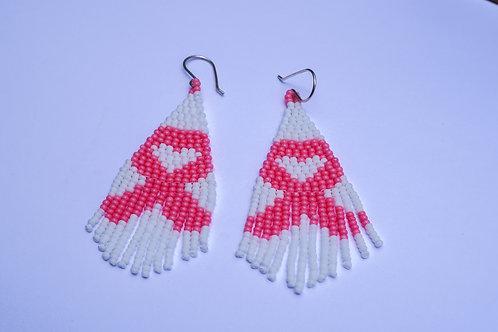 Breast Cancer Awareness Pink Ribbon Beaded Earrings