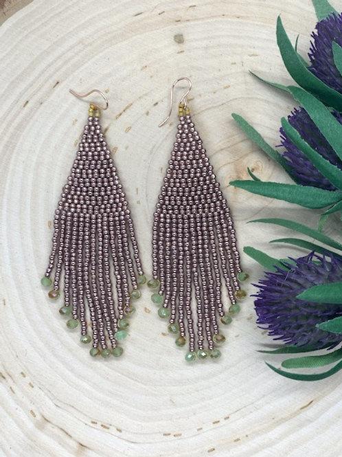 Bronze & Green Beaded Earrings