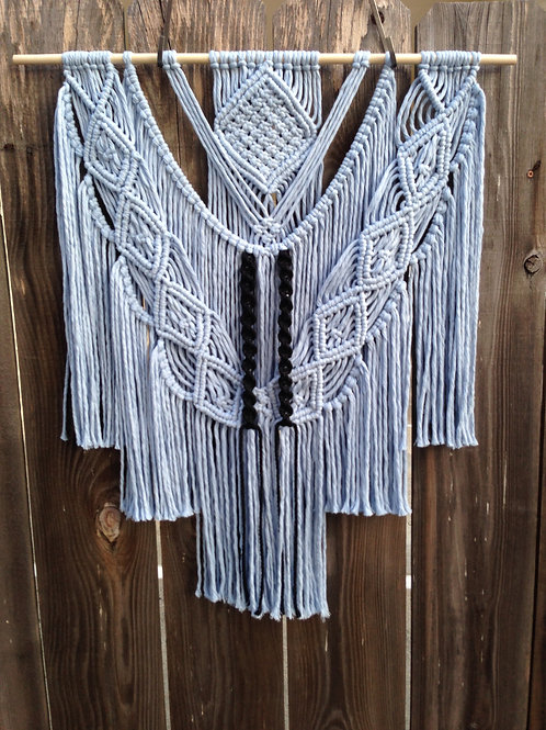 Baby Blue and Black Macrame Wall Hanging