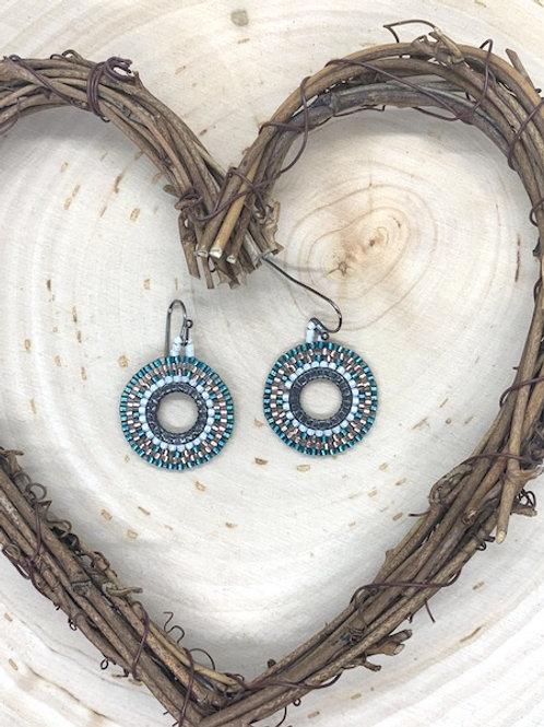 Green Circular Beaded Earrings