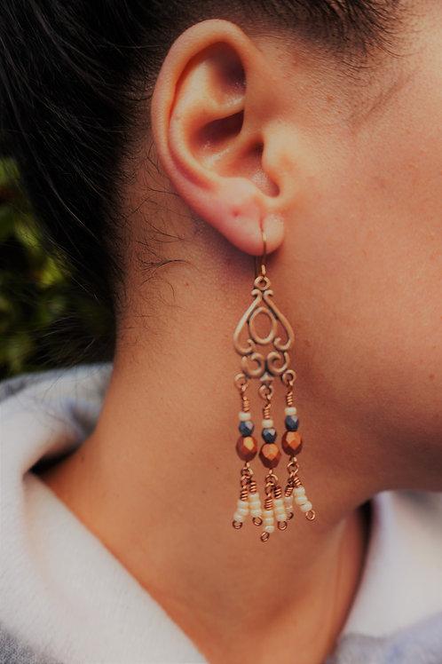 Chandelier Wire Wrapped Beaded Earrings