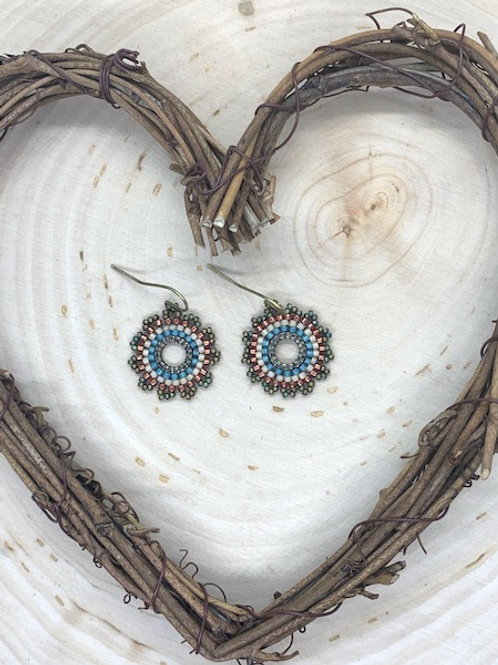 Southwest Style Circular Beaded Earrings