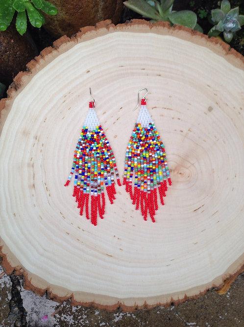 Jezebel Beaded Earrings - Rainbow