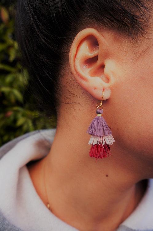 Triple Tassel Drop & Pendant Earrings