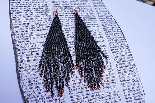Crystal Hex Beaded Earrings - Black