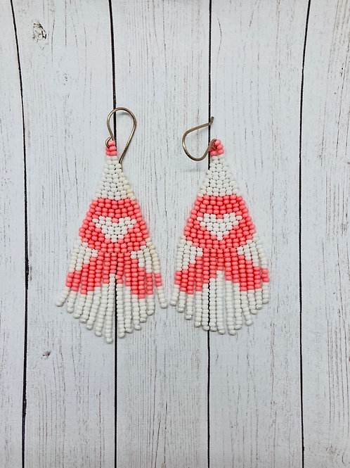 Breast Cancer Awareness Pink Ribbon Beaded Earrings