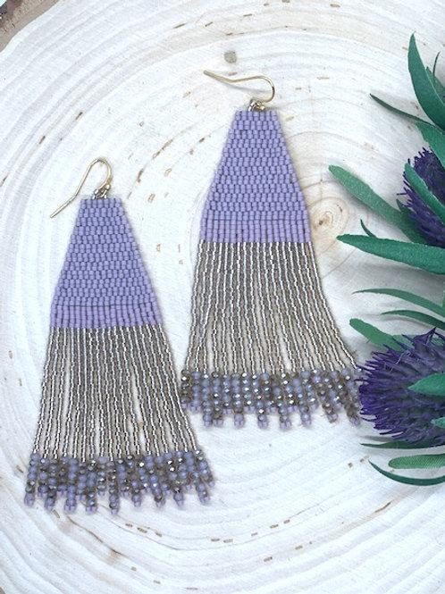 Lavender & Champagne Beaded Earrings