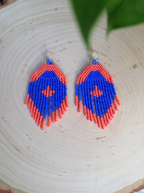 Diamond Beaded Earrings - Coral and Blue