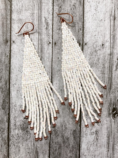 Crystal Hex Beaded Earrings - White