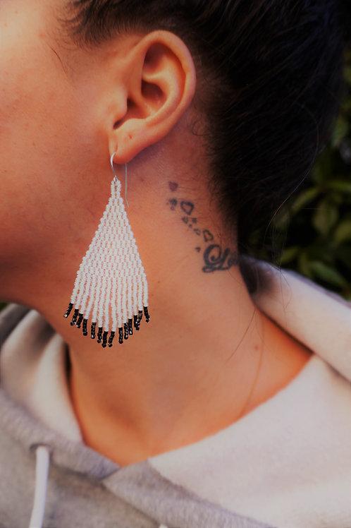 Rainbow White with Black Tip Beaded Earrings