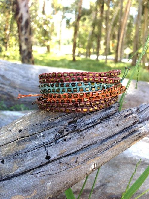 Savannah Double Strand Bracelet with Square Beads - Single Unit