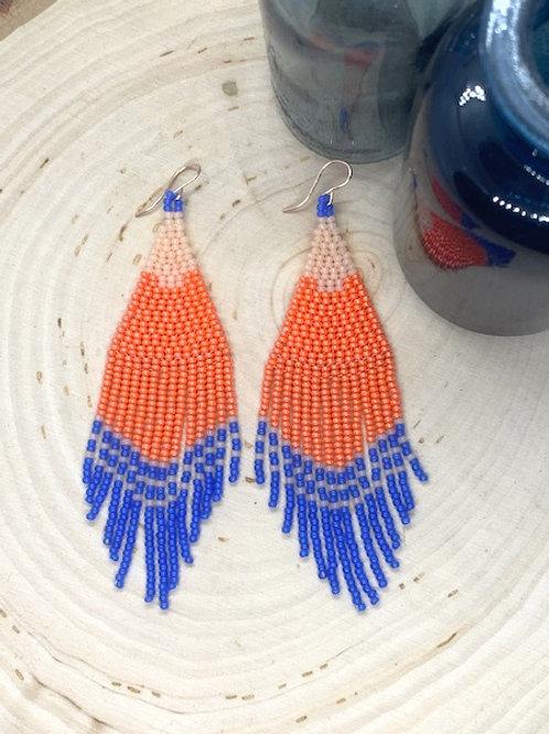 Jezebel Beaded Earrings - Peach & Blue