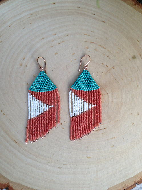 Teal, Coral and White Beaded Earrings