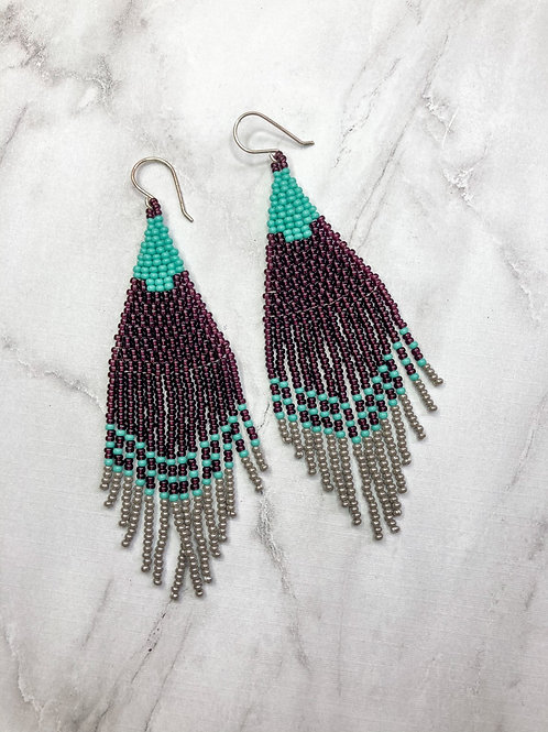 Jezebel Beaded Earrings - Turquoise, Grey, Amethyst