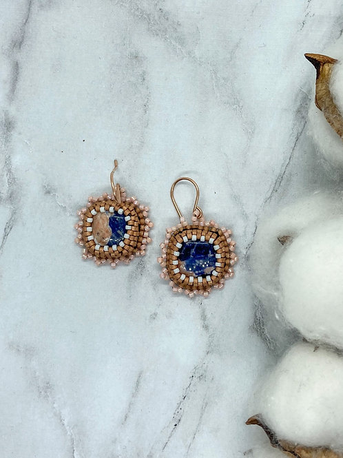 Sodalite Bead Embroidered Earrings