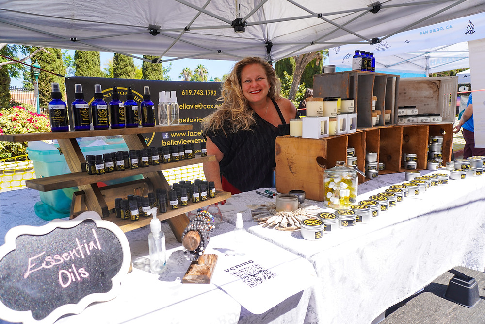 candle maker and owner bella vie candles at little italy farmers market