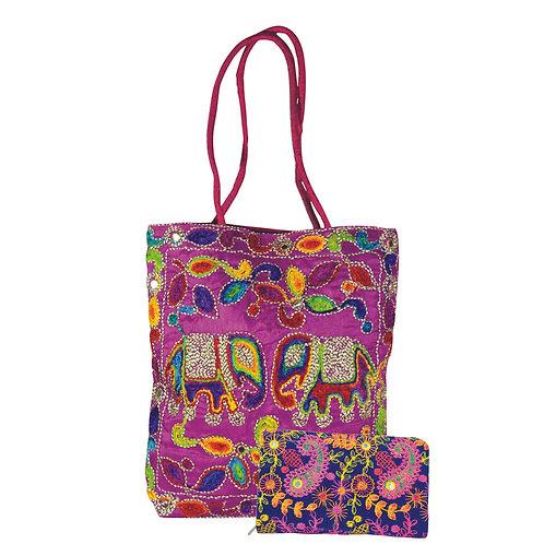 Haastika Tote Bag With Clutch Rajasthani Work Stylish Hand Purse Wallet