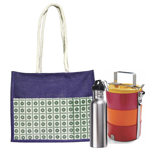 Haastika Jute Lunch Tiffin Bag with Front Pocket for Men & Women