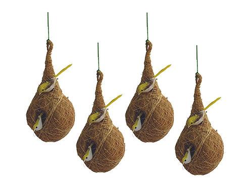 Haastika Coir Craft Bird Nest for Cage, Balcony and Garden-Combo of 4
