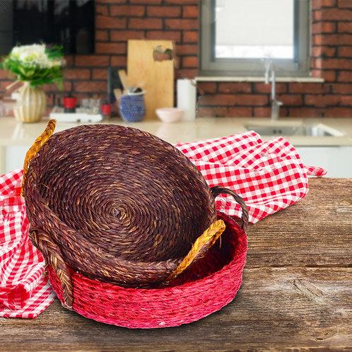 Haastika Handmade Full Sabai Grass Kadai Basket Combo for Dinning Table
