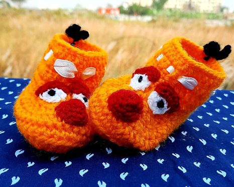 Haastika Handmade Woollen Angry Bird Yellow Booties 3 to 5 Months Baby