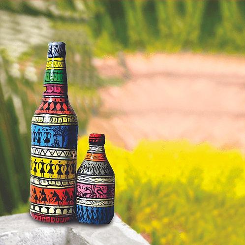 Haastika Handprinted Tribal Bottle with Small Tribal Bottle Art  (Combo Pack)