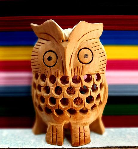 Haastika Handmade Wooden Carved Showcase Item Cum Home Decorative Owl Showpiece
