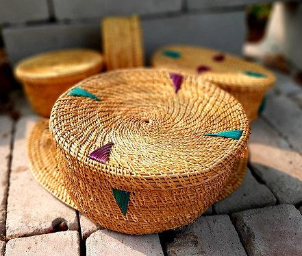 Haastika Handmade Golden Grass Round Big Box Showpiece