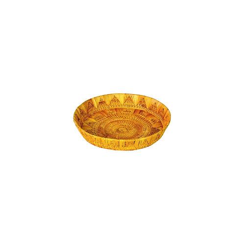 Haastika Golden Grass Round Tray (Small) Showpiece - 16 cm (Bamboo, Gold)