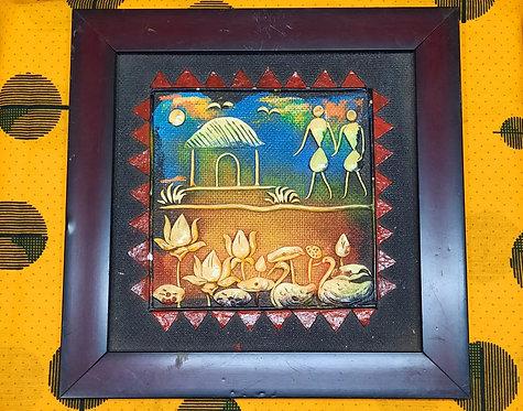 Haastika Handmade Palm Leaf Painting of Warlly Panting