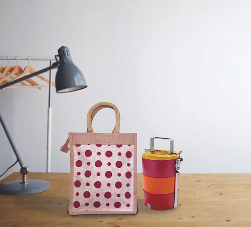 Haastika Jute Bobby Print Tiffin/Lunch Box Carry Bag With Zip for office