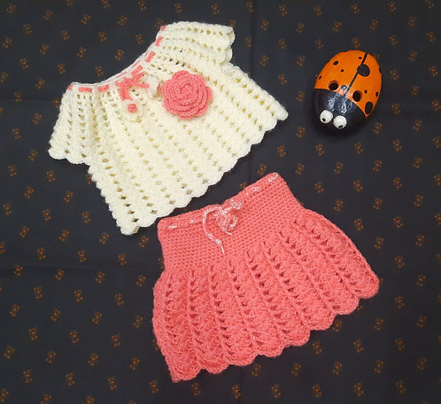 Haastika Baby Girl's Woolen Skirt Dress and Top (Multicolor, 3-12 Months)