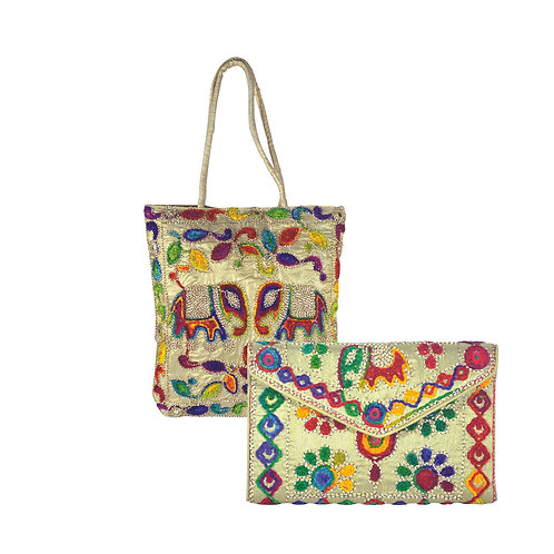 Haastika Tote Bag With Handmade Designer Embroidered Clutch