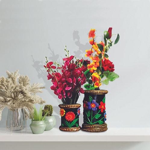 Haastika Handmade Paper Mache Flower Vase with Small Flower Base (Combo Pack)
