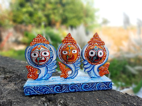 Haastika Wooden Multi Color Jagannath,Balavadra and Subhadra Showpiece