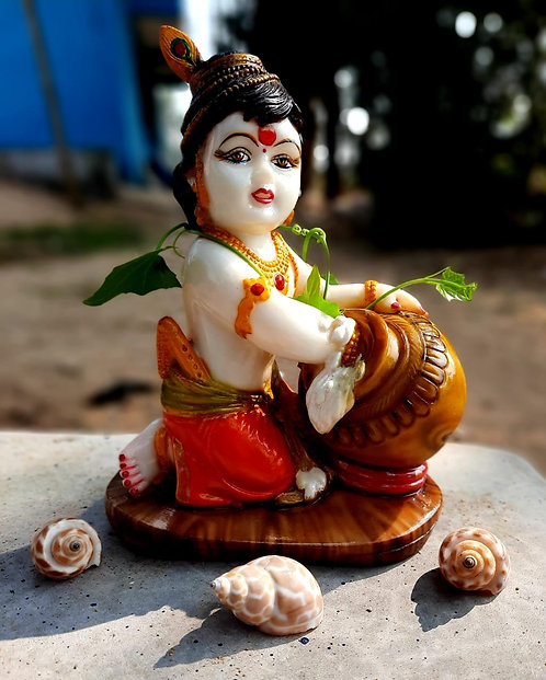 Haastika Marble Lord Sree Krishna Statue Idol Gift Showpiece Murti for Home