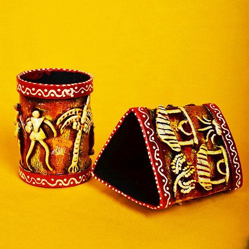 Haastika Handmade Paper Mache Pen/Pencil Holder Combo