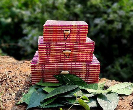 Haastika Handmade 3 Set Wooden Jewellery Box/Jewellery Organizer Box - Multi