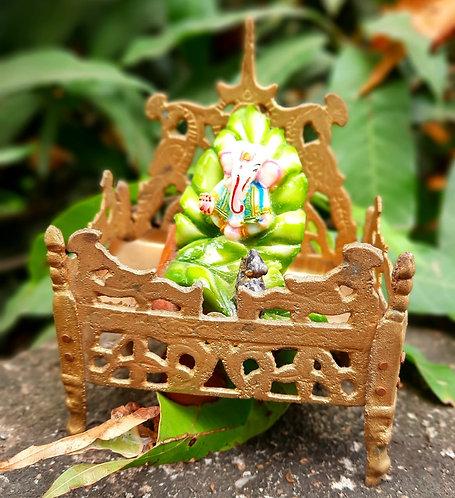 Haastika Decorative Puja Chowki Brass Pooja Chowki (Gold)