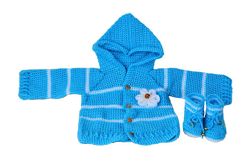 Haastika Woolen Unisex Baby Dress with Booties for 0 to 3 Months