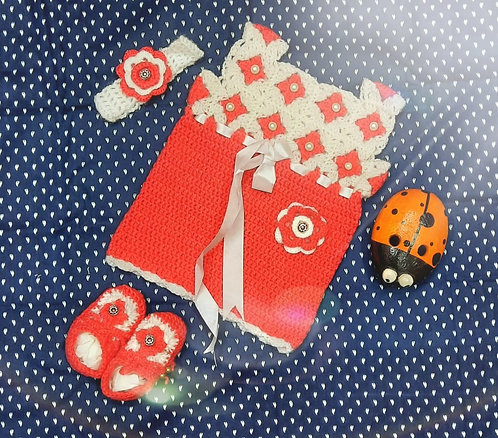 Haastika Baby Dress for 6 to 8 Months Girl | Dress with Hairband and Booties