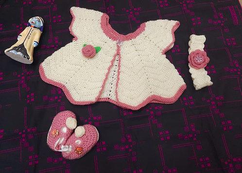 HAASTIKA Baby Girl's Woollen Dress (Multicolour, 0-3 Months)