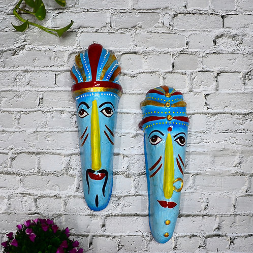 Haastika Hand Art Wall Hanging Couple Mask for Home Décor