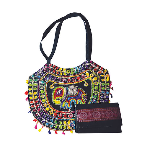 Haastika Elephant Designed Shoulder Bag With Jute Clutches For Women and Girls