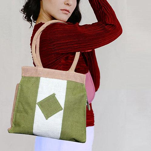 Haastika Jute Vanity Bag with Zip for Women - Green & White