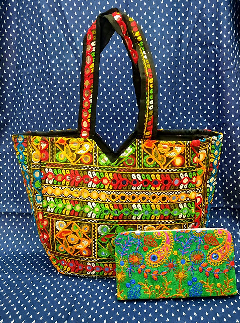 Haastika Fabrics Women's Handbag With Clutch Rajasthani Work Stylish Hand Purse