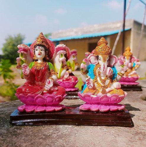 Haastika Marble Lord Laxmi Ganesha Statue Idol Gift Showpiece