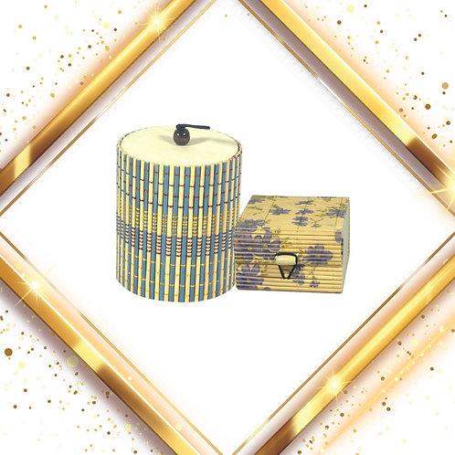 Haastika Handmade Wooden Round Jewelry Box with Square Jewelry Box
