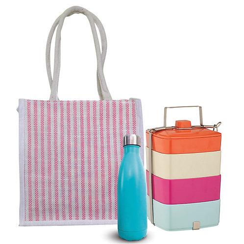 Haastika Strip Jute Lunch Tiffin Bag for Men & Women