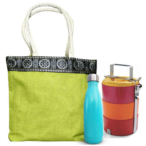 HAASTIKA Sambalpuri Jute Lunch Tiffin Bag with Front Pocket (Green)